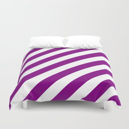 Diagonal Stripes (Purple/White) Duvet Cover