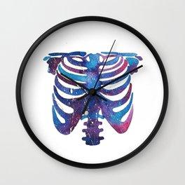 Watercolor galaxy skeleton Wall Clock