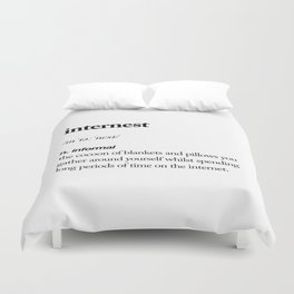 Internest black and white contemporary minimalism typography design home wall decor bedroom Duvet Cover