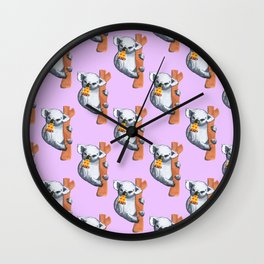 koala eating pizza pattern Wall Clock