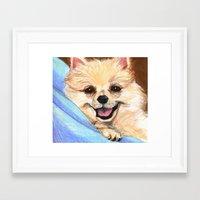preppy Framed Art Prints featuring Preppy Pomeranian by Britanee LeeAnn Sickles