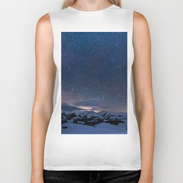 Arctic Night Sky With Bright Stars Blue And Orange Sky Biker Tank