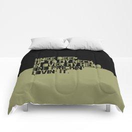 Knee Deep.Up To My Neck. In Over My Head. Green-black Comforters