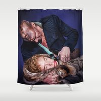 frankenstein Shower Curtains featuring Frankenstein by tillieke