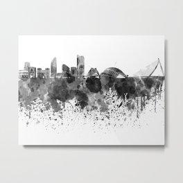 Valencia skyline in black watercolor Metal Print