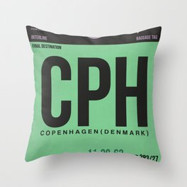 CPH Copenhagen Luggage Tag 1 Throw Pillow