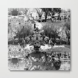 Summer space, smelting selves, simmer shimmers. [extra, 8, grayscale version] Metal Print