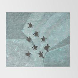 Loggerhead sea turtle hatchlings Throw Blanket