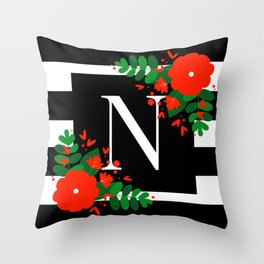 N - Monogram Black and White with Red Flowers Throw Pillow