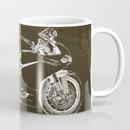 Motorcycle blueprint, Superbike 1299 Panigale, 2015,brown background, gift for men, classic bike Coffee Mug