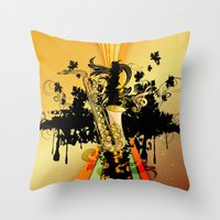 saxophone Throw Pillows featuring Saxophone by nicky2342