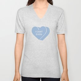Minimalist 3D Cerulean Blue Heart I CANT EVEN Unisex V-Neck