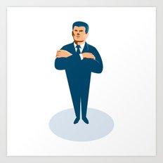 businessman secret agent arms crossed Art Print