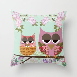 Mother Owl and Baby Owl Nest with flowers  Throw Pillow