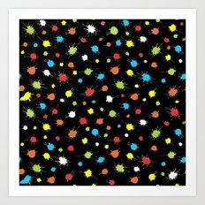 Neon Splattered Paint Art Print