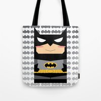 superhero Tote Bags featuring Superhero by Xiao Twins