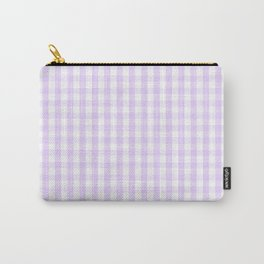 Chalky Pale Lilac Pastel and White Gingham Check Plaid Carry-All Pouch