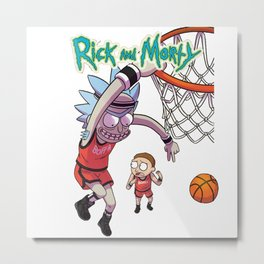Rick & Morty basketball dunking Metal Print