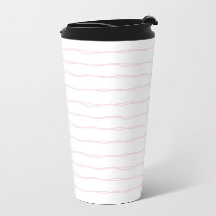 Simply Wavy Lines in Desert Rose Pink Metal Travel Mug