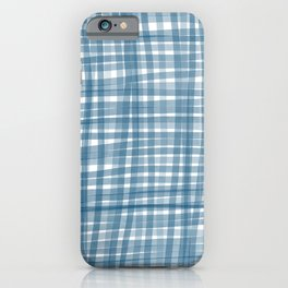Baby blue watercolor gingham iPhone Case