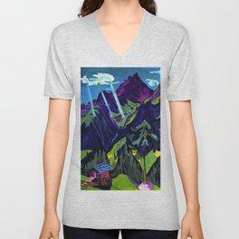 Mountain Landscape in the Sun by Ernst Ludwig Kirchner Unisex V-Neck