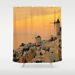 Sunset in Oia, Santorini Shower Curtain