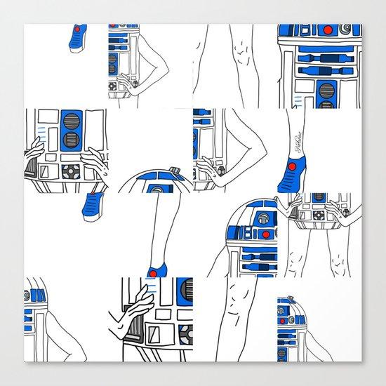Robot Girl Cubism Canvas Print