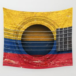Old Vintage Acoustic Guitar with Colombian Flag Wall Tapestry