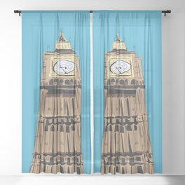 London Big Ben Sheer Curtain