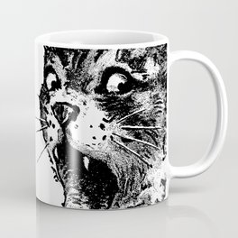 Freaky Cat B&W / Late 19th century illustration of very surprised cat Coffee Mug