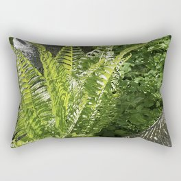 Ferns - leaves and shadows - against birch bark Rectangular Pillow