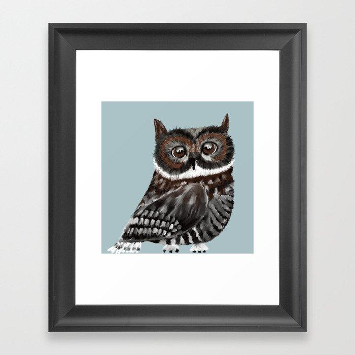 Adorable Owl In Blue Framed Art Print