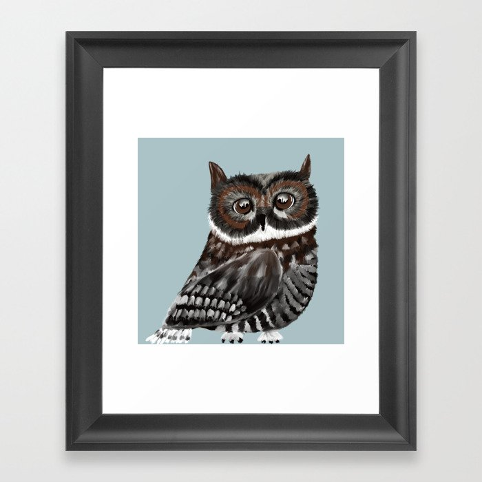 Adorable Owl In Blue Framed Art Print