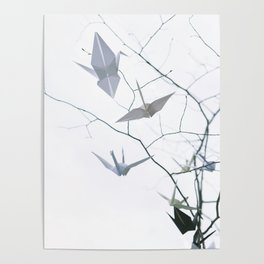 Origami Cranes and Tree Branches Peace Poster