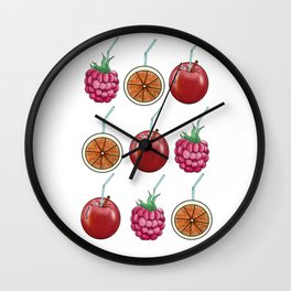 fresh fruits and cocktail rolls Wall Clock