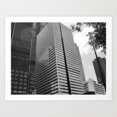 Black & White Close up View of Skyscraper Art Print
