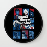 gta Wall Clocks featuring Doctor Who and GTA - Nerd Mix by MarcoMellark