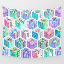 Christmas Gift Hexagons Wall Tapestry