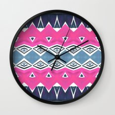 Geo Triangle Pink Navy 2 Wall Clock