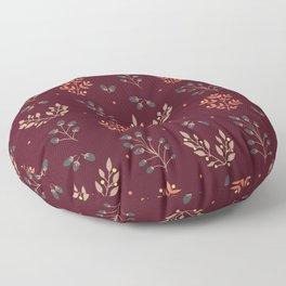 RED MERLOT FLORAL FALL Floor Pillow
