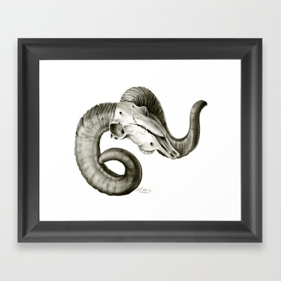 Bighorn Sheep Skull Framed Art Print by Mica Low | Society6
