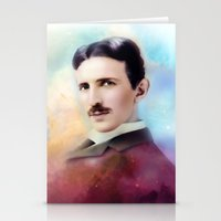tesla Stationery Cards featuring Tesla by Mamboo