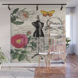 french country rose floral modern vintage dress mannequin paris fashion Wall Mural