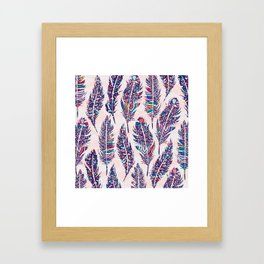 Colorful Bohemian Feathers Pattern Framed Art Print