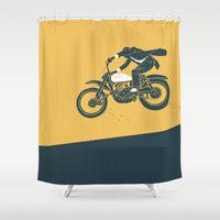 grease Shower Curtains featuring jump by The Junkers