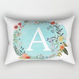 Personalized Monogram Initial Letter A Blue Watercolor Flower Wreath Artwork Rectangular Pillow