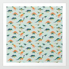 Rainbow Dinos Art Print