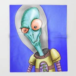 Pulpy pop retro Space Alien Throw Blanket