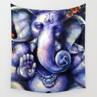 ganesh Wall Tapestries featuring Ganesh by meghantaylor
