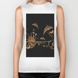 Funny dolphins with flowers Biker Tank